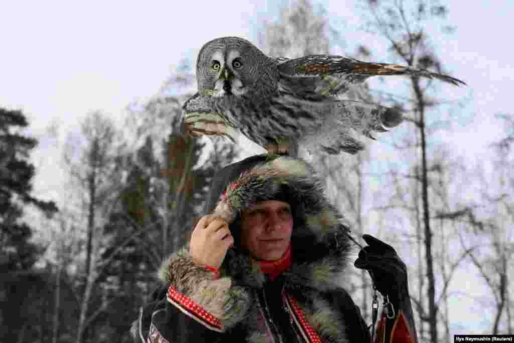 A great gray owl sits on the head of ornithologist Daria Koshcheyeva in the Siberian taiga forest in Krasnoyarsk, Russia. (Reuters/Ilya Naymushin)