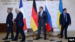 Справа налево: министры иностранных дел Украины, России, Германии и Франции. Минск, 29 ноября 2016 года.