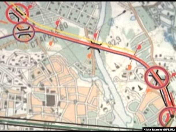 Фрагмент схемы строительства автодороги через Химкинский лес