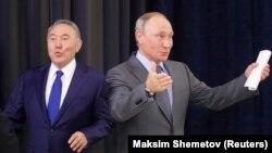 Қазақстан президенті Нұрсұлтан Назарбаев пен Ресей президенті Владимир Путин.