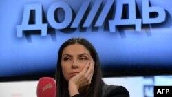 """""""Дождь"""" телеарнасының құрылтайшысы және бас директоры Наталья Синдеева. Мәскеу, 4 ақпан 2014 жыл."""