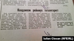 Moldova - newspaper page about 1989 Romanian revolution, Chisinau