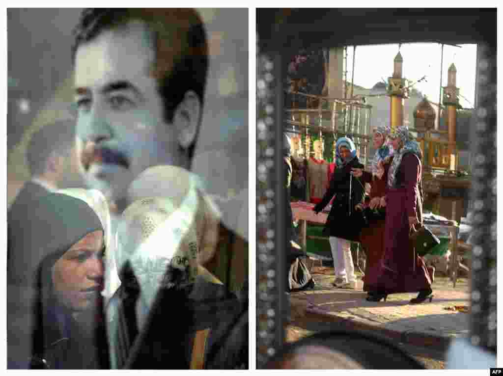 Сулда: 2003 елның 25 гыйнварында Сәддам Хөсәин сурәте пыяласында хатын-кызлар чагыла. Уңда: 2013 елның 4 февралендә Багдад үзәгендә Каррада бистәсе урамындагы бер көзгедә узып баручы хатын-кызлар чагылышы.