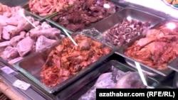 Прилавок мясной продукции столичного магазина, Туркменистан