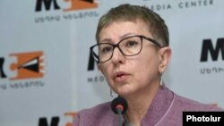 Armenia - Larisa Minasian, executive director of Open Society Foundations-Armenia, at a press conference in Yerevan, March 5, 2019.