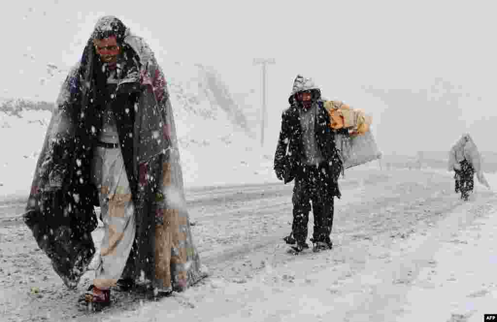 Snow blankets the outskirts of Herat, Afghanistan.