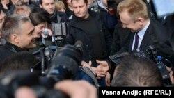 Čedomir Jovanović i Dragan Đilas u šetnji za ubijenog premijera Zorana Đinđića, 12. mart 2013.
