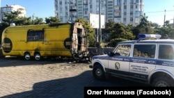 Сгоревший в Севастополе фуд-трак компании «ВолкиОвцы»