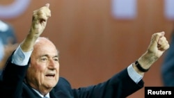 FIFA President Sepp Blatter reacts after he was reelected at the 65th FIFA Congress in Zurich on May 29.