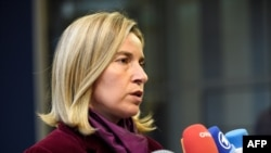 EU foreign policy chief Federica Mogherini answers journalists' questions during a foreign affairs meeting in Luxembourg on October 17.