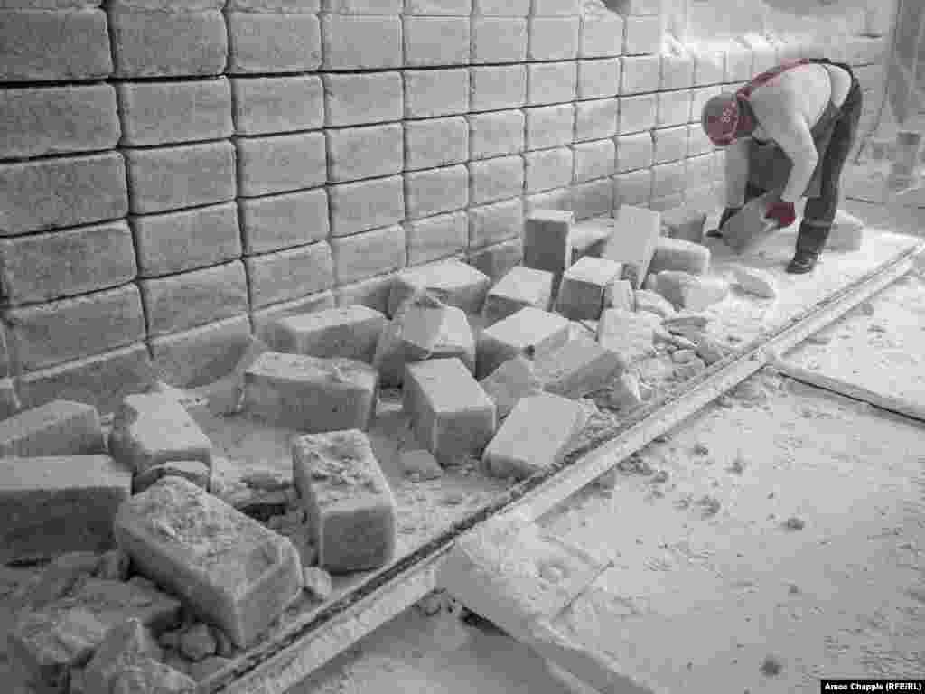 """These salt blocks, which sell for around 8 euros each, are used for """"speleo rooms"""" -- chambers built from salt that seek to recreate the allegedly restorative conditions of salt mines."""