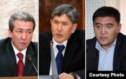 Қырғызстан президенттігіне кандидат болған саясаткерлер: Адахан Мадумаров (сол жақта), Алмазбек Атамбаев (ортада) және Қамчыбек Ташиев (оң жақта).