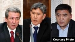 Президентликка номзодлар (ўнгдан чапга): Адахан Мадумаров, Алмазбек Атамбаев, Қамчибек Ташиев.