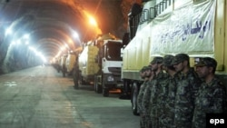 Iran -- A video grab reportedly shows missile launchers in an underground tunnel at an unknown location in Iran, October 14, 2015