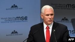 مایک پنس، معاون رئیسجمهوری آمریکا پس از حضور در همایش «امنیت و آینده صلح خاورمیانه» در ورشو لهستان، در کنفرانس امنیتی مونیخ در آلمان علیه ایران سخنرانی کرد