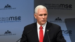 U.S. Vice President Mike Pence delivers a speech during the 55th Munich Security Conference in Munich on February 16.
