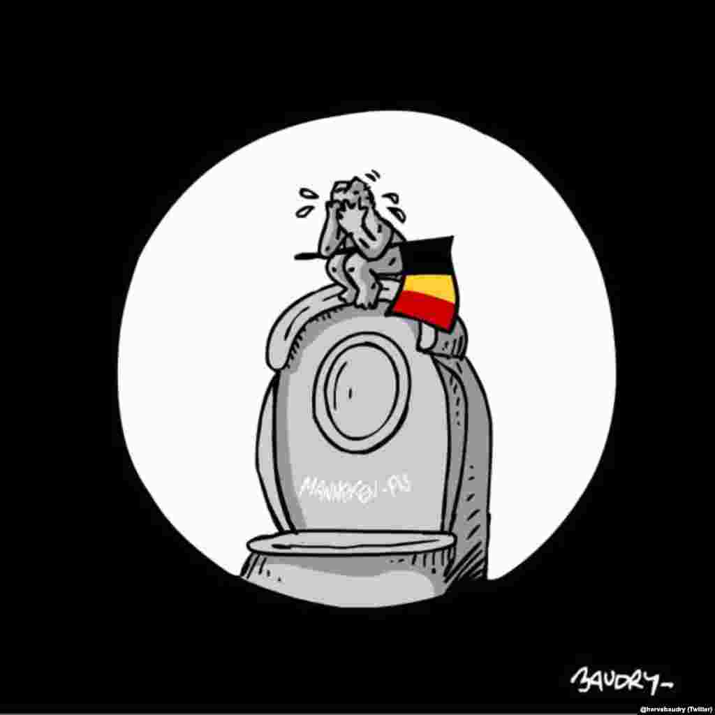 A cartoon showing a grieving Manneken Pis (Social-media generated content, via @hervebaudry)