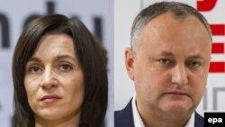 Мая Санду (л), Ігор Додон (п), комбіноване фото