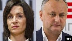 Кандидаты в президенты Молдовы Майя Санду (слева) и Игорь Додон.