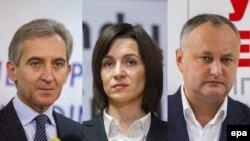 Кандидаты в президенты Молдовы Юрие Лянкэ (слева), Майя Санду и Игорь Додон.