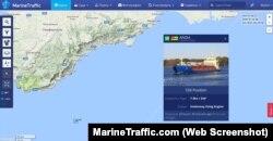 Місцезнаходження суховантажу Anda в Чорному морі 28 липня за даними онлайн-сервісу MarineTraffic