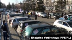 Автопробег против роста цен на бензин в городе Шелехов Иркутской области. 31 октября 2014 года.