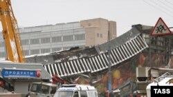 Здание Басманного рынка после обрушения крыши