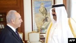 امیر قطر همراه با رییس جمهوری اسرائیل.