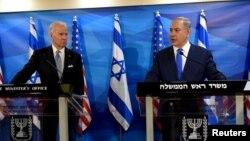 Joe Biden (vicepreședinte al SUA) și premierul israelian Benjamin Netanyahu, Ierusalim, 9 martie 2016