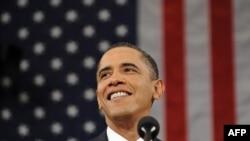 АҚШ президенті Барак Обаманың халыққа жолдау жасап тұрған сәті. Вашингтон, 27 қаңтар 2010 жыл.