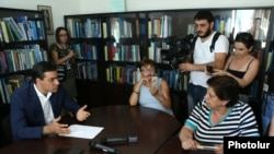 Armenia - Ombudsman Arman Tatoyan received members of the protest action in support of Sasna Tsrer group members, 23Aug, 2016