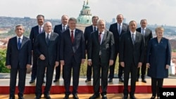 Czech Republic -- Participants pose for a photo during a meeting on the 5th anniversary of the Eastern Partnership at the Prague Castle in Prague, April 24, 2014