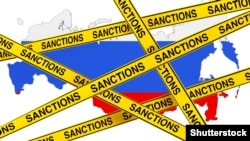 Generic – Russia Sanctions Concept. Yellow Tape with Sanctions Sign Against of Russia Map with Flag on a white background. 3d Rendering