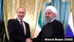 Владимир Путин и Хасан Роухани (Москва, 28 марта 2017 г.)