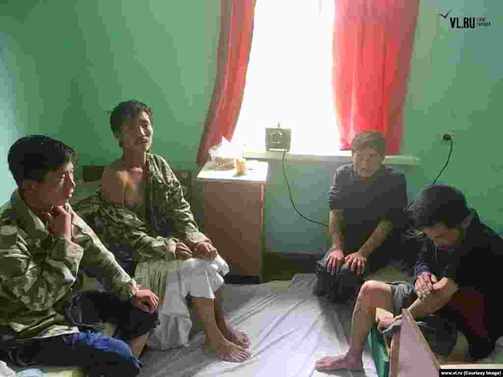 Around 70 fishermen have reportedly been picked up by the Russian Coast Guard since Typhoon Soulik hit. Others, like these four North Koreans whose boat washed ashore on August 29, were rescued by locals. The four have since been deported back to North Korea minus the 11 crewmates they say were lost at sea in the storm.
