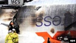 هواپیمای مسافربری آمریکایی پس از سقوط ذر ژاپن