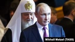 Президент Росії Володимир Путін і патріарх Російської православної церкви Кирило. Росія, Москва, січень 2019 року