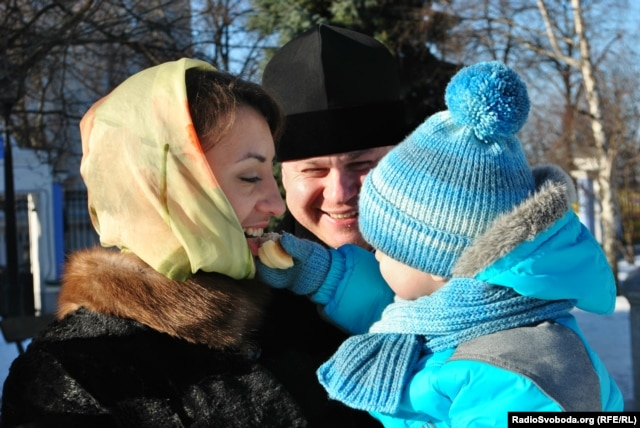 Natalia Boiko with her husband, Petro, and their son, Volodymyr
