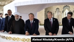 Әзербайжан, Иран, Қазақстан, Ресей және Түркіменстан президенттері Каспий саммитінде. Ақтау, 12 тамыз 2018 жыл