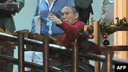 Former dictator Manuel Noriega after arrive at the Renacer prison in Panama City on December 11, 2011.