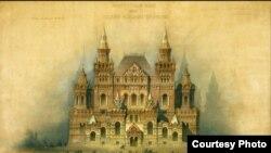 В.О. Шервуд, А.А. Семенов. Фасад на Красную площадь. Утвержденный проект Исторического музея. 1875 год