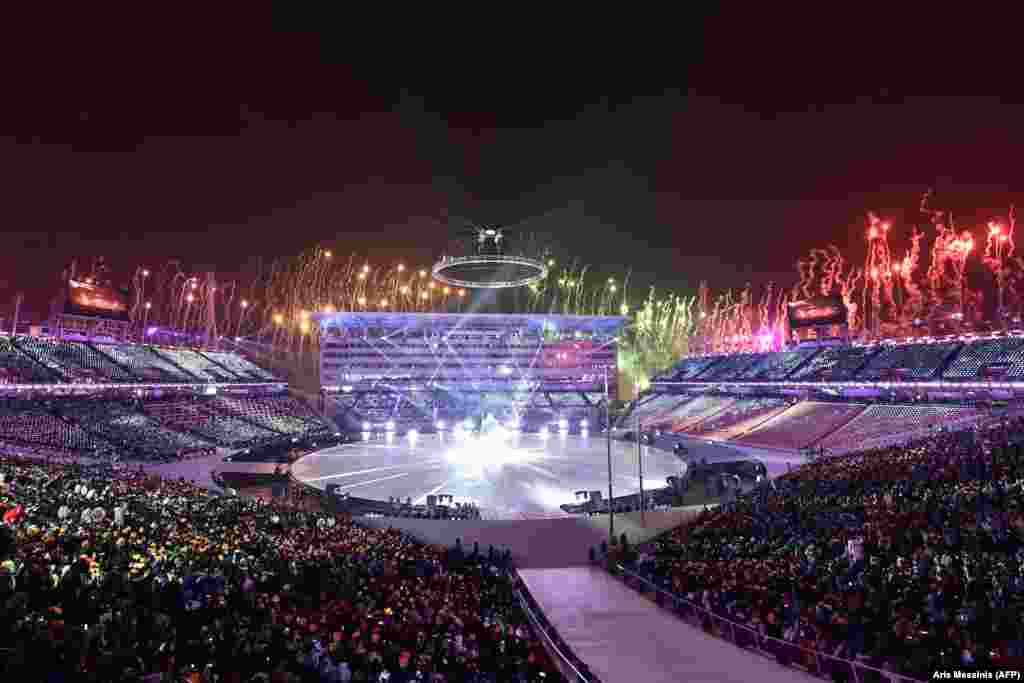 Following a spectacular firework show, more than 2,900 athletes from 92 nations marched intoPyeongchang Stadium.