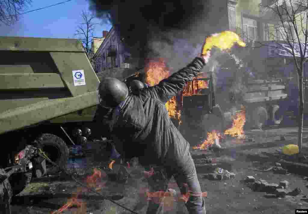 Столкновения в центре Киева, 18 февраля