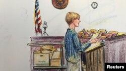 Ділан Руф на малюнку із засідання суду в Чарлстоні, 10 січня 2017 року