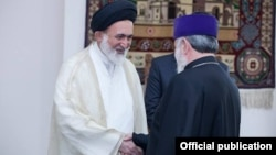 Armenia - Catholicos Garegin II (R) meets with Ali Ghazi Asgar, a representative of Iran's Supreme Leader Ayatollah Ali Khamenei, Echmiadzin, 5Jun2015.