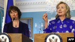 Catherine Ashton and Hillary Clinton