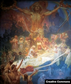 A gigantic painting from Mucha's famous Slav Epic