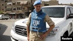 Pjesëtari i misionit të OKB-së në Siri afër vendit ku ka ndodhur eksplodimi në Damask