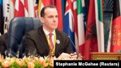 U.S. envoy to the coalition against Islamic State Brett McGurk attends a conference in Bayan, Kuwait, in February.