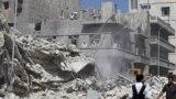 اثار الدمار في احد احياء حلب